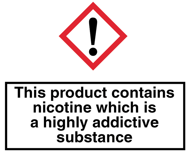 All packaging to include relevant warnings about nicotine