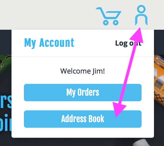 Access your address book at any time by clicking the person icon and selecting 'Address Book'