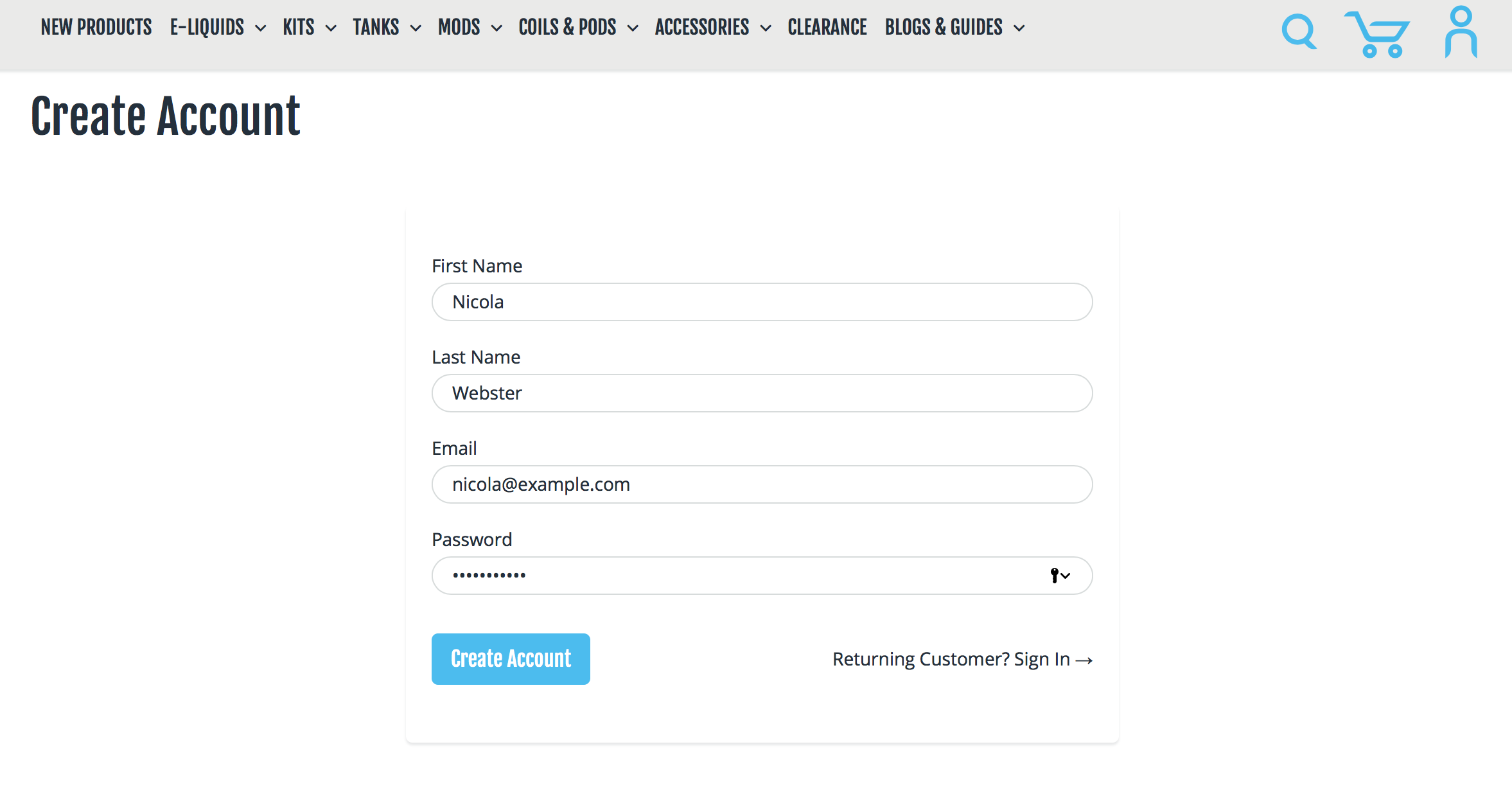 Fill your details into the form and select a password.