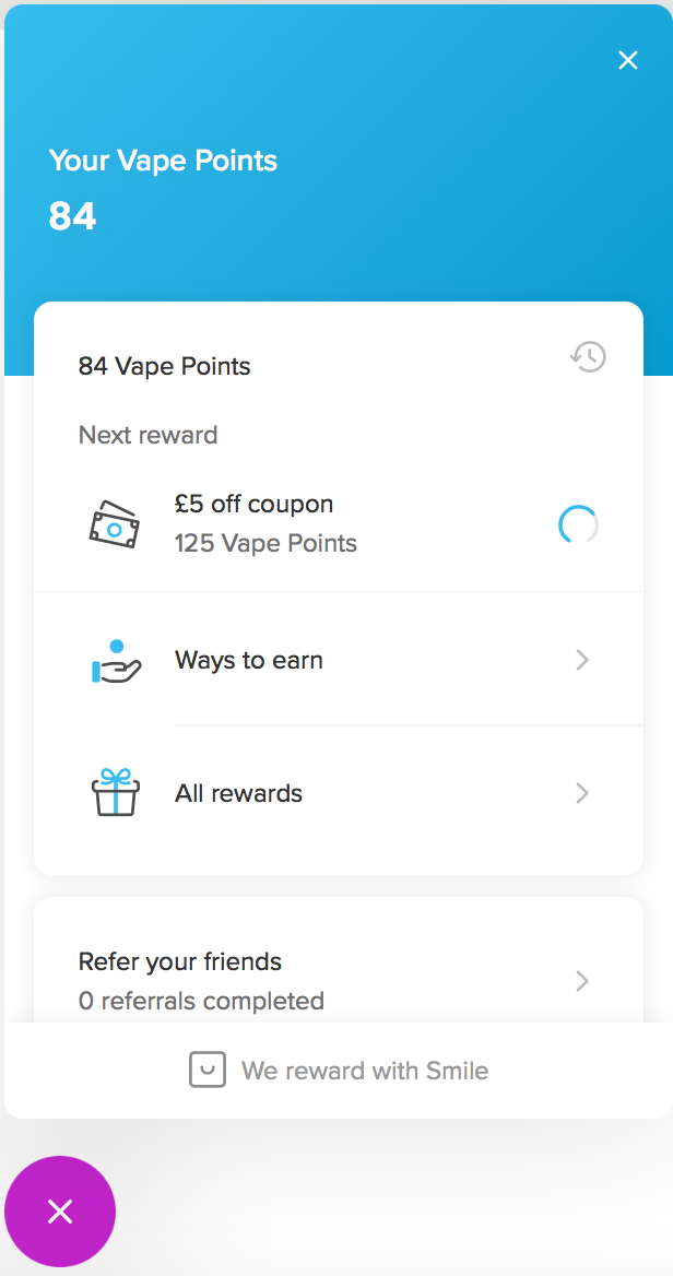 The pop-up displays the amount of vape points you currently have