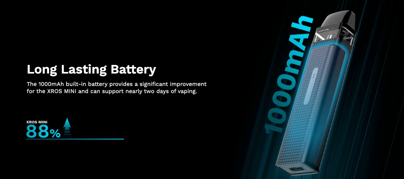 The upgraded, 1000mAh battery allows up to two days of vaping between charges