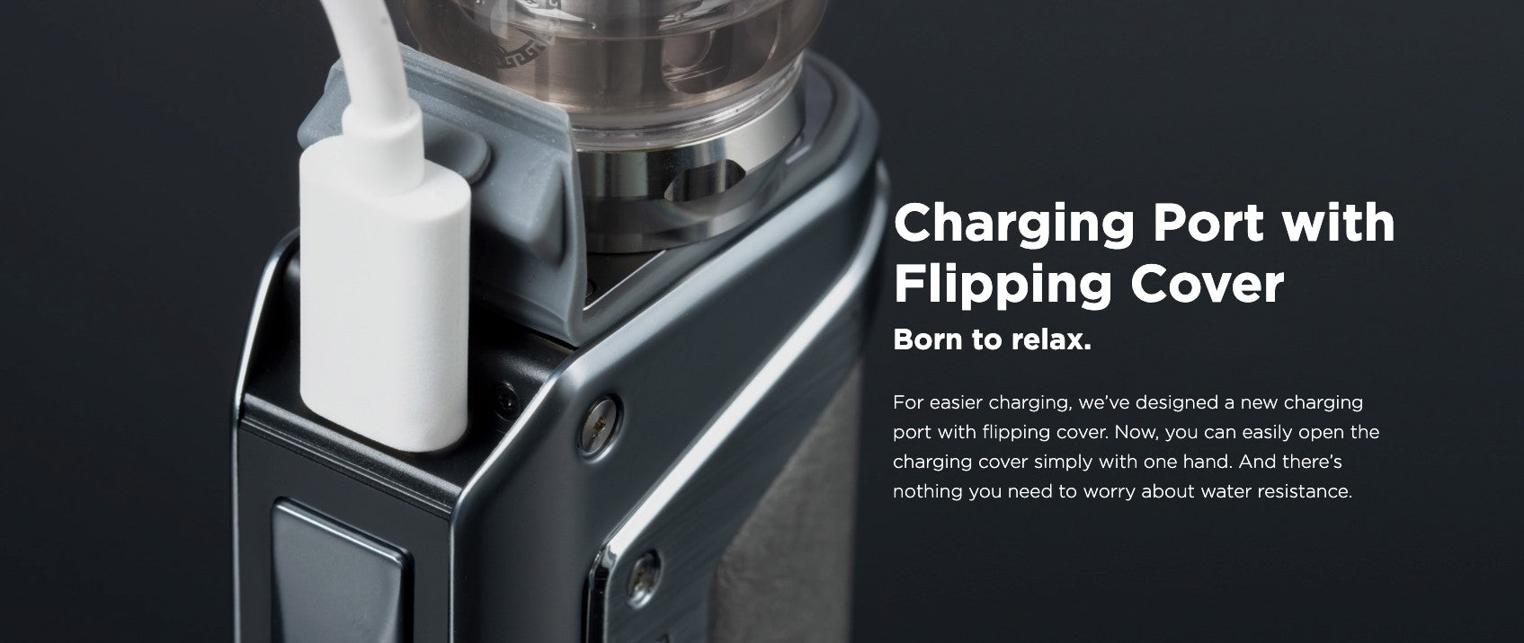 Flipping charge port makes access very easy to recharge