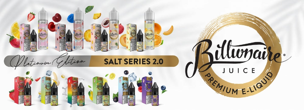 Billionaire vape juice is available in both 10ml nic salts and 50ml short fill sizes