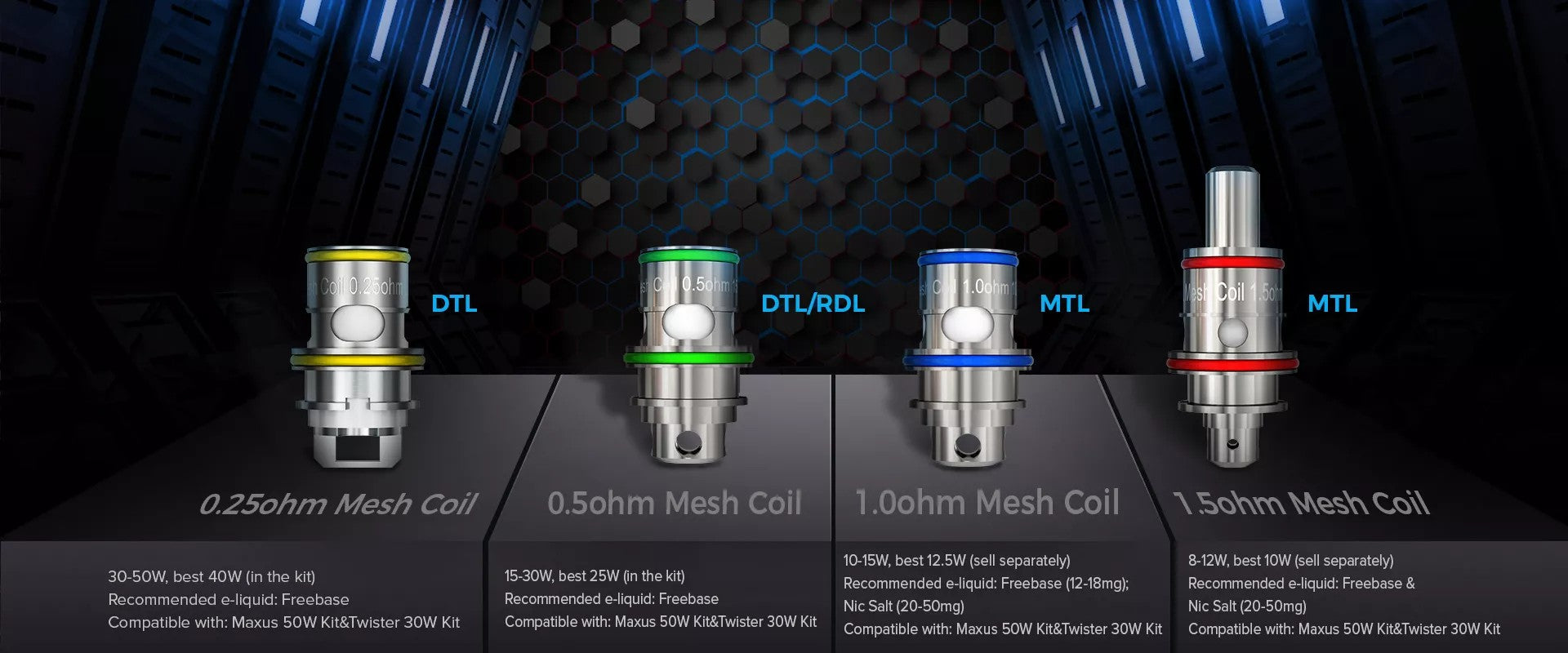 Coil options include both DTL and MTL versions