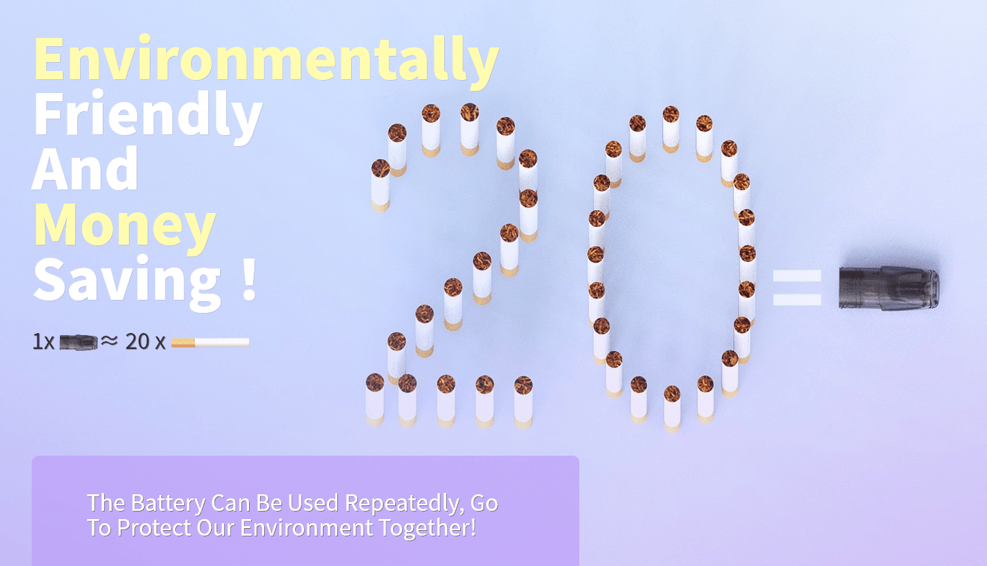 1 Pod is equal to 20 cigarettes.