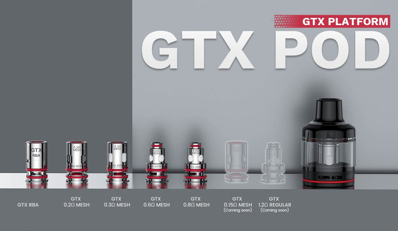 Luxe 80 is equipped with a GTX Pod 26 which supports all GTX coils