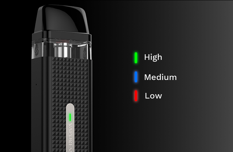 Three colours are shown for remaining power levels