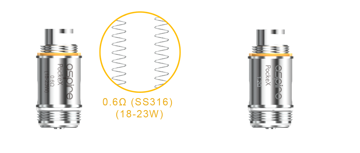 The Aspire PockeX coil is available in two resistances for great flavour production
