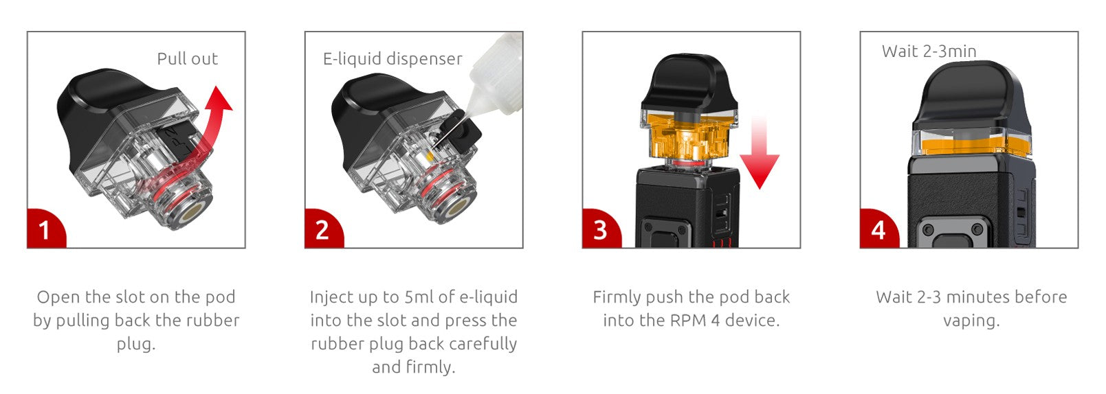 To fill the RPM4 pods with vape juice, simply remove the fill port and insert the nozzle into the top.