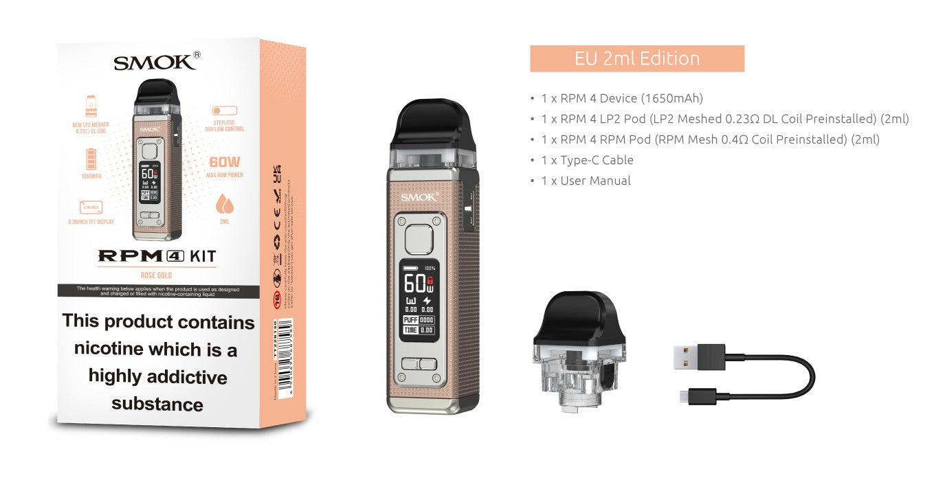 SMOK RPM4 kit comes with 1 x RPM4 device, 1 x RPM4 LP2 Pod preinstalled with 1 x LP2 Meshed 0.23ohm DL coil, 1 x RPM4 RPM Pod with 1 x preinstalled RPM Mesh 0.4ohm coil, a USB-C cable and user manual.