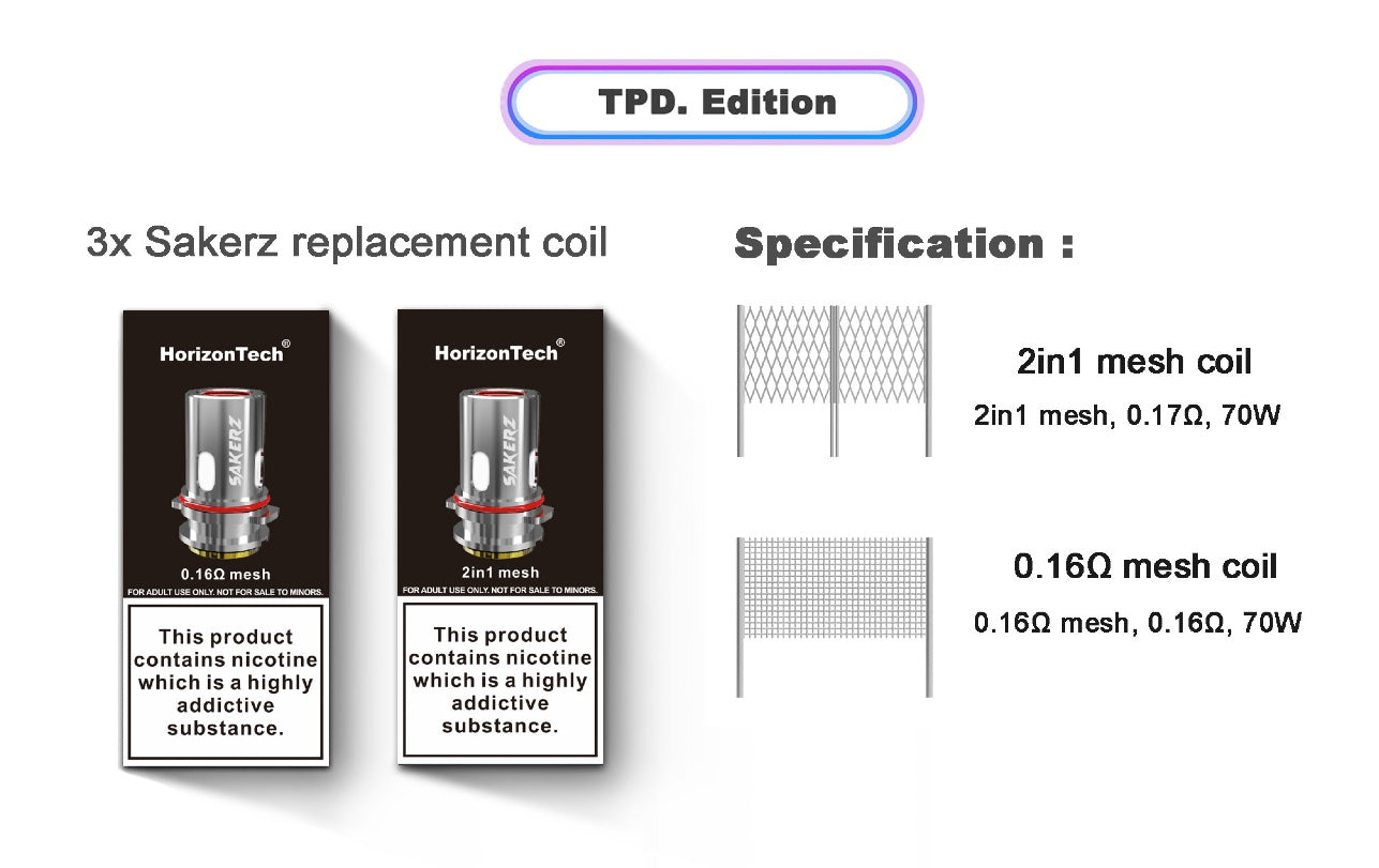 Sakerz coils are available in two versions
