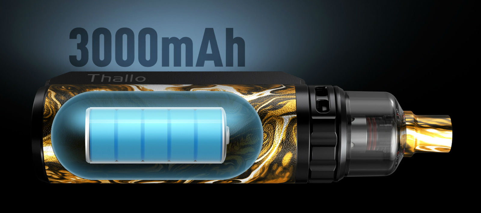 A huge 3000mAh battery will keep you vaping all day