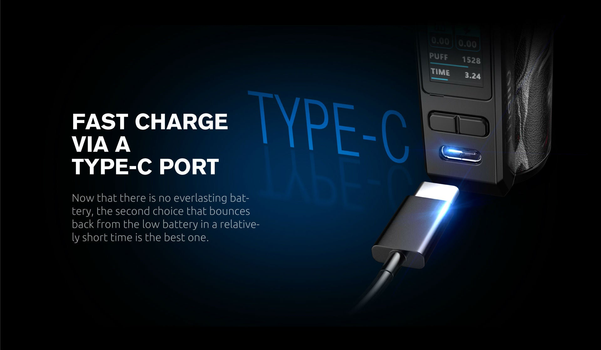 Charge your Thallo kit much quicker than previous micro usb charging capabilities