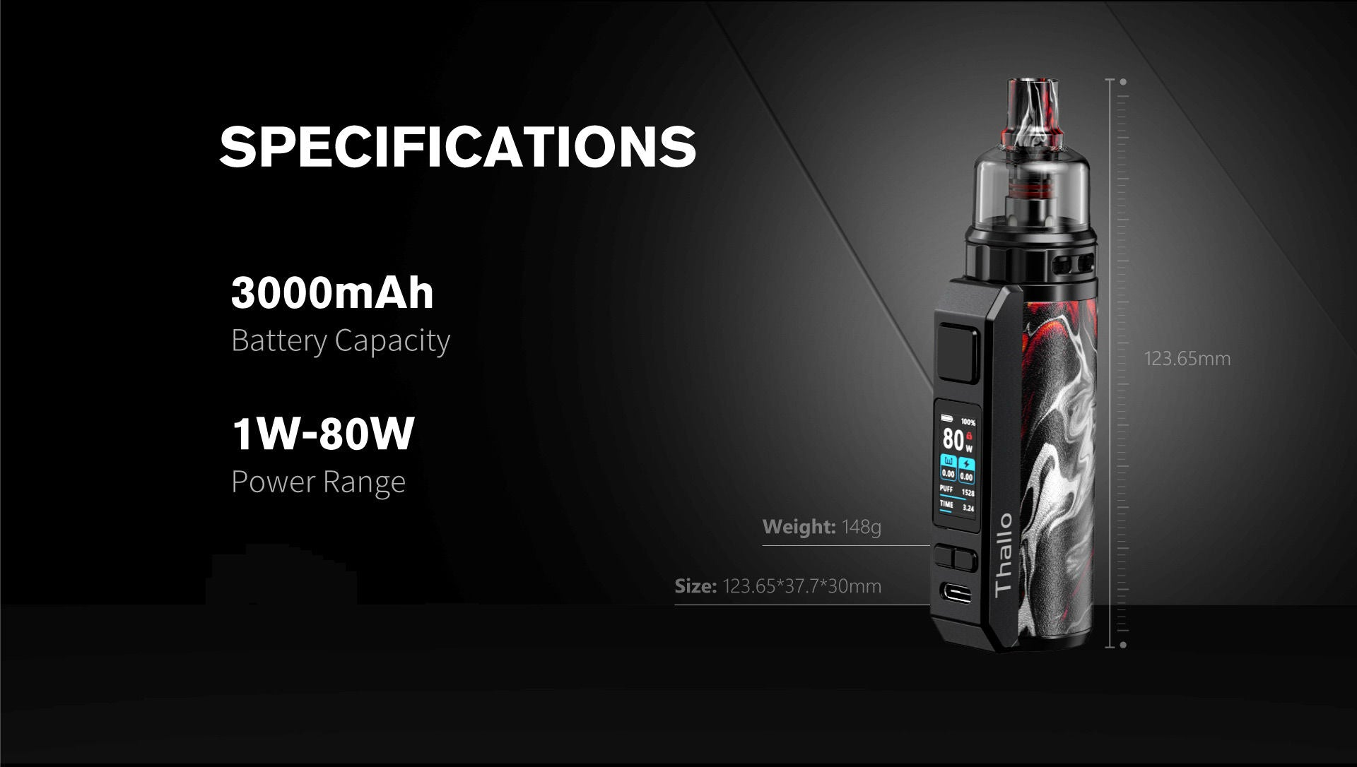 Featuring an integrated 3000mAh battery and 80w output