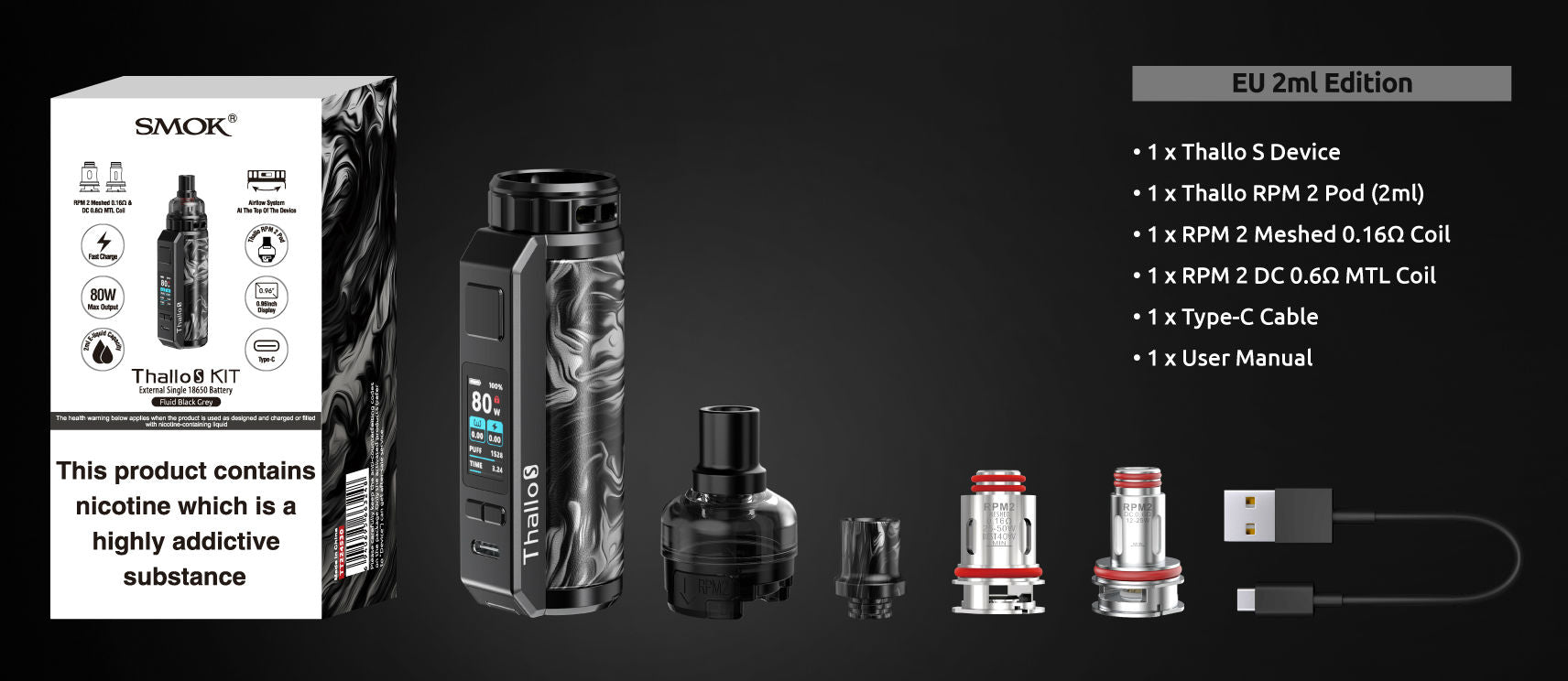 The kit includes a mod, pod, two coils and usb-c lead