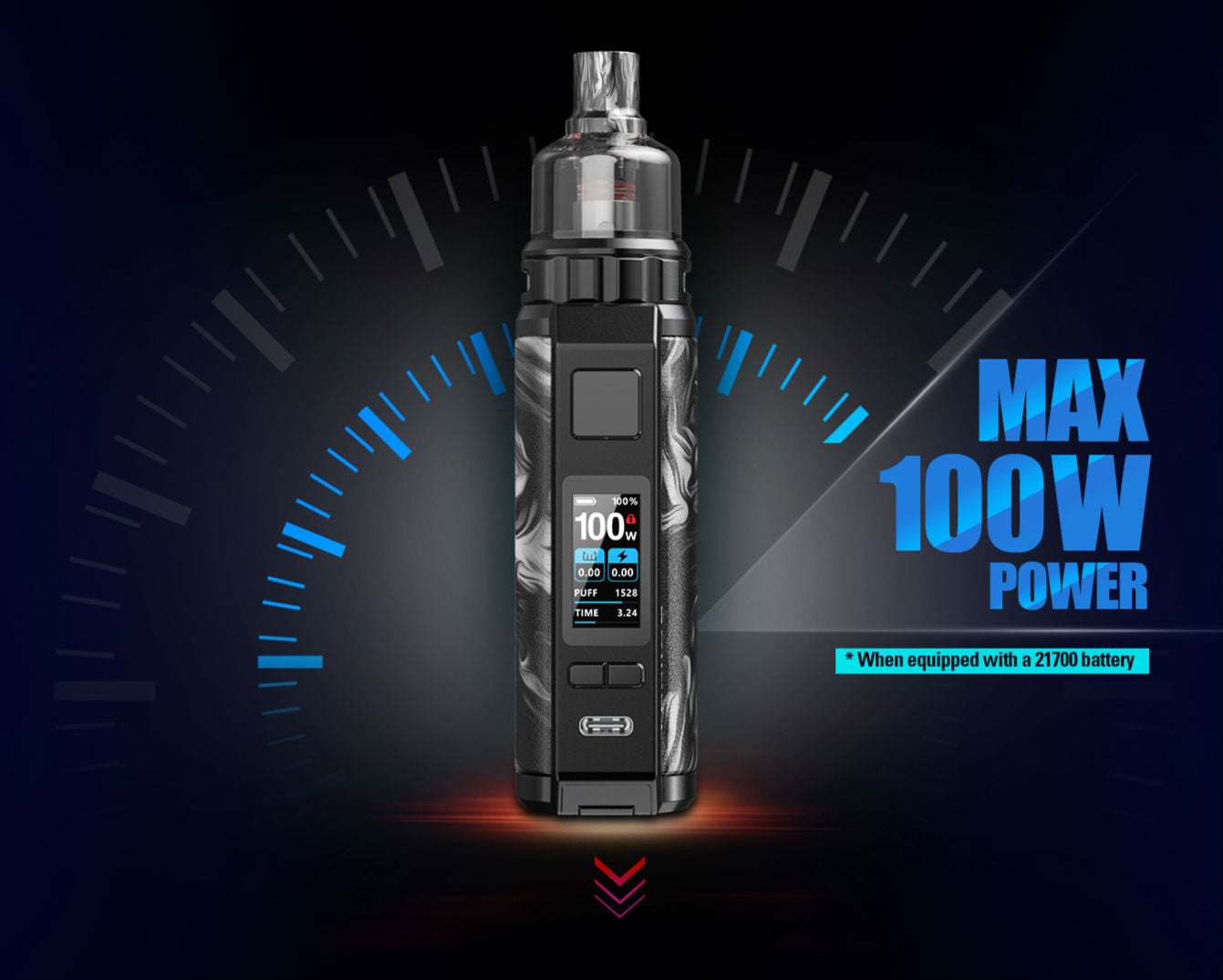 Switch to a 21700 battery for increased performance up to 100w