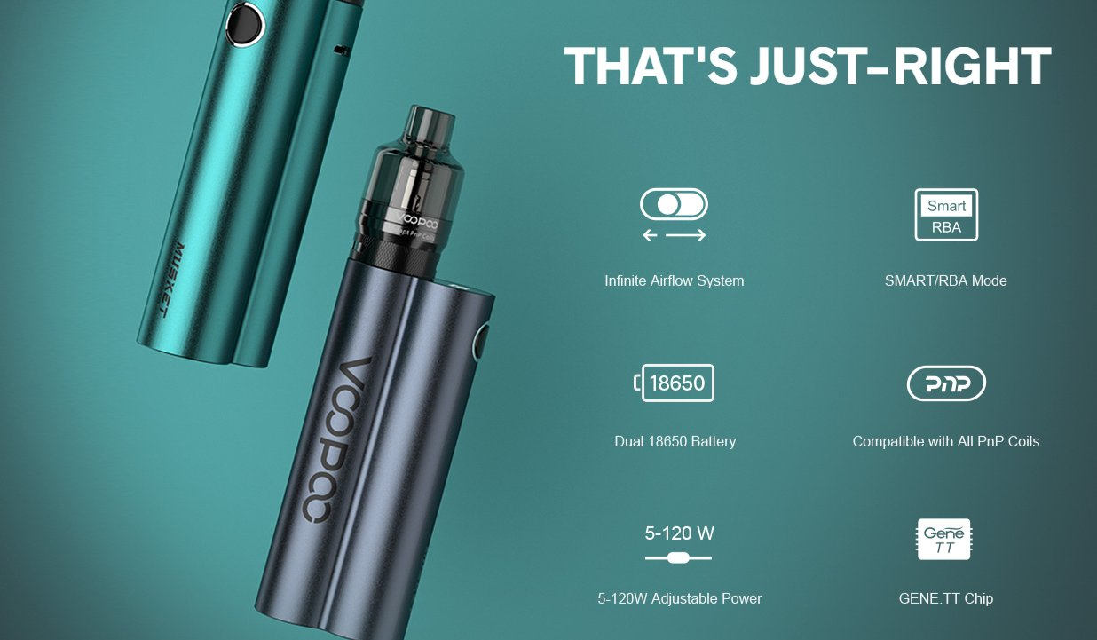 The VooPoo Musket kit features an infinite airflow system, an adjustable wattage range of 5 – 120 watts, and is compatible with all PnP coils.