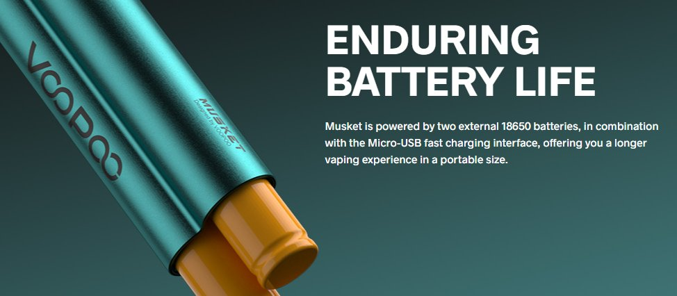 Powered by two 18650 battery cells, with fast-charging.