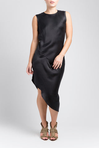 Asymmetric Drape Dress - Black
