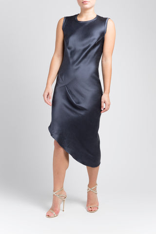 Asymmetric Drape Dress - Midnight