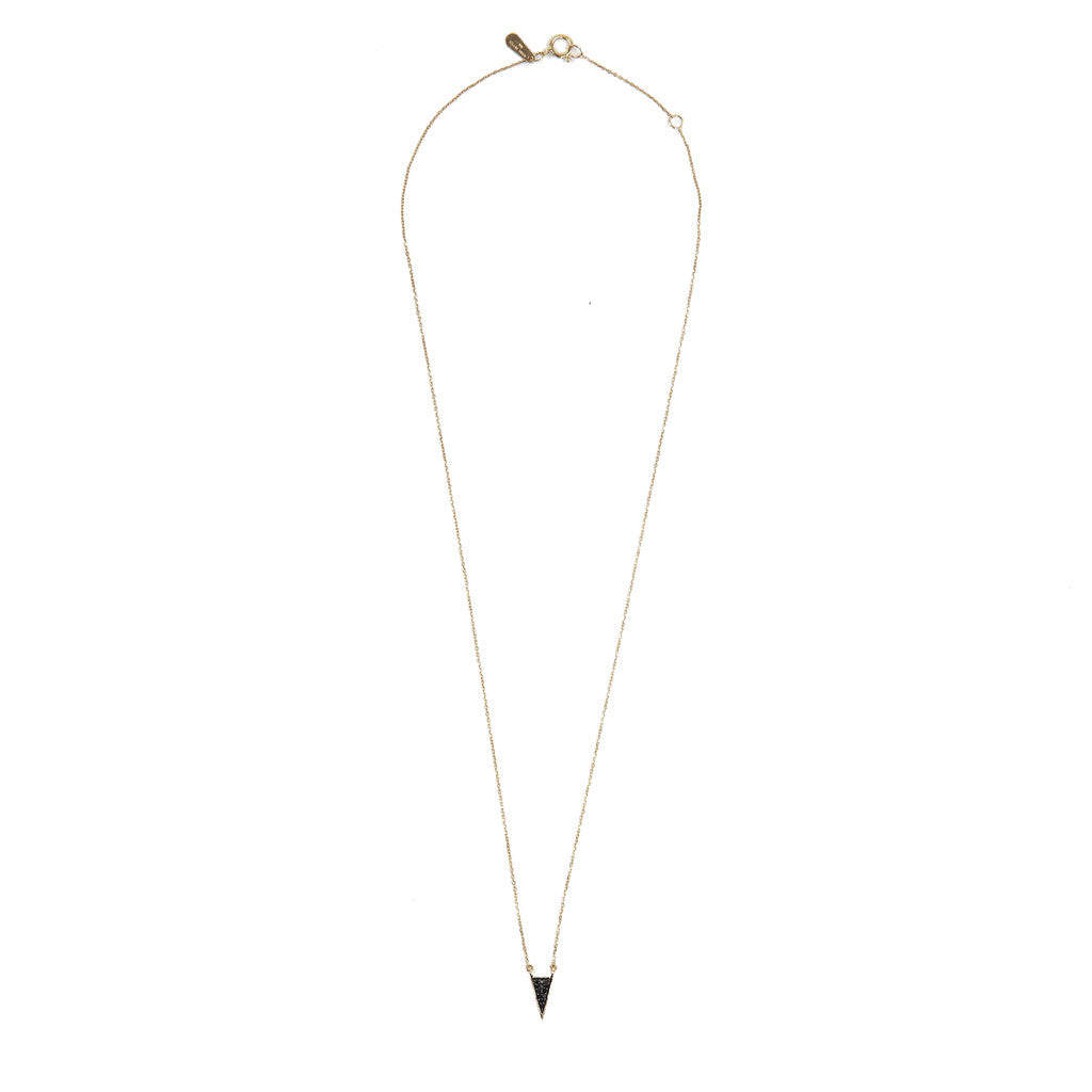 Adina Reyter Pave Black Diamond Long Triangle Necklace