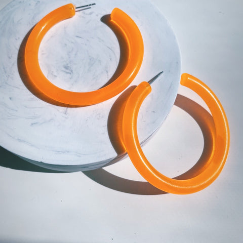 """Orange Fizz"" Hoop Earrings"