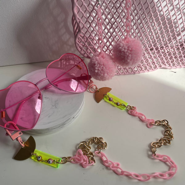 """Pink Lemonade"" Mask/Glasses Chain"