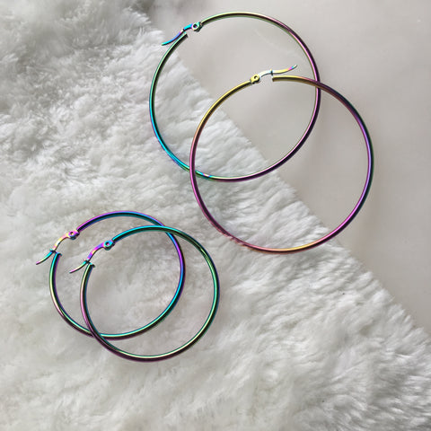 """Oil Slick"" Hoops"