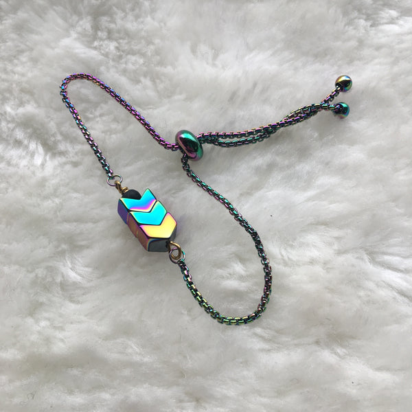 """Rainbow Point"" Slider Bracelet"