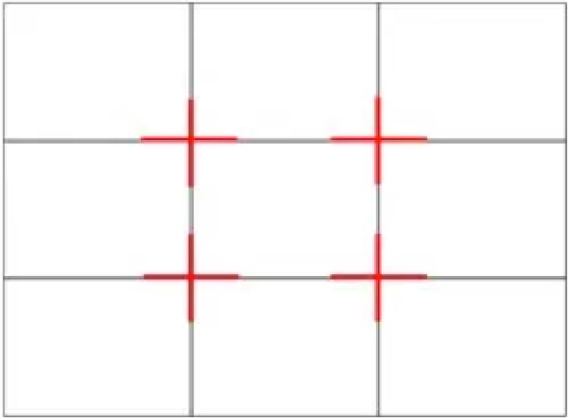 Photography rule of thirds grid
