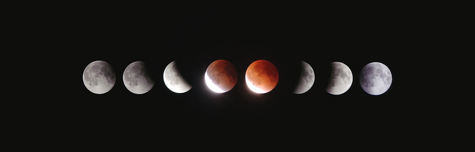 Panoramic of the moon in its various phases