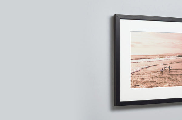 close up of framed print with mount