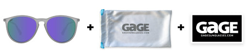 Gage sunglasses include free pouch and sticker
