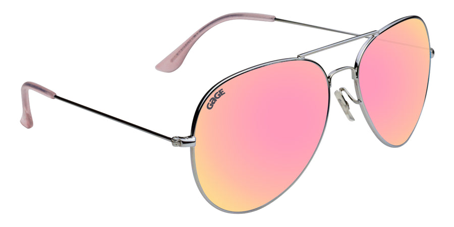 Silver Sunglasses With Polarized Rose Gold Lenses