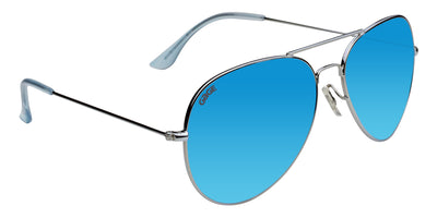 Silver Sunglasses With Polarized Sky Blue Mirrored Lenses