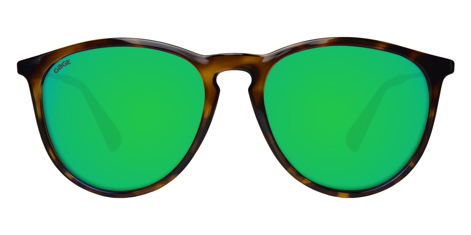 Brown Tortoise Sunglasses With Gold Metal Arms and Polarized Green Lenses