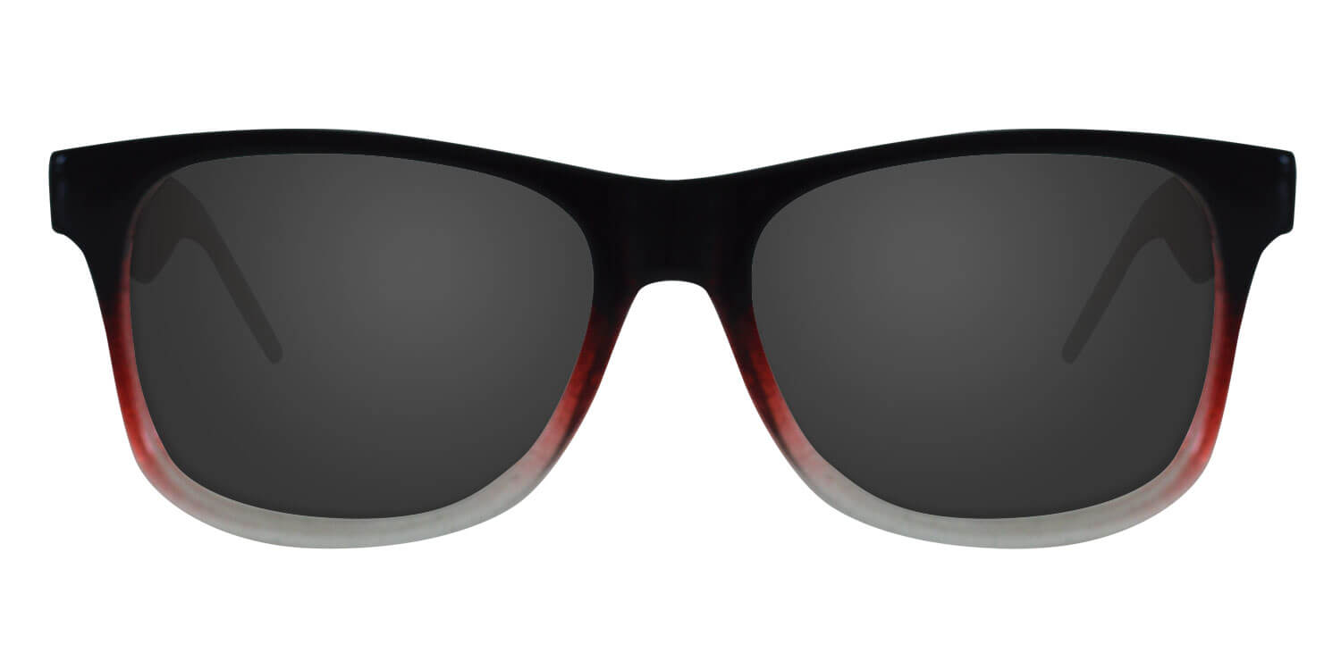 Glossy Black, Red & Clear Gradient Sunglasses With Smoke Lenses