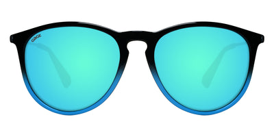 Black to Blue Gradient Sunglasses With Black Metal Arms and Polarized Lt Blue Lenses