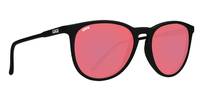 Black Round Eye Sunglasses With Berry Pink Lenses