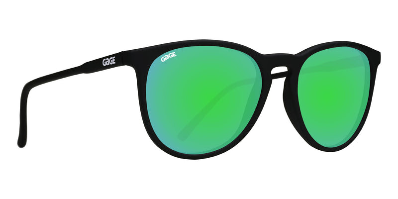 Black Round Eye Sunglasses With Green Lenses
