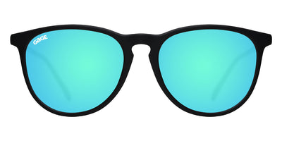 Black Round Eye Sunglasses With Light Blue Lenses