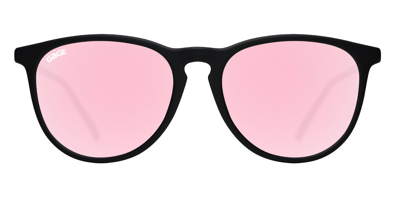 Black Round Eye Sunglasses With Rose Pink Lenses