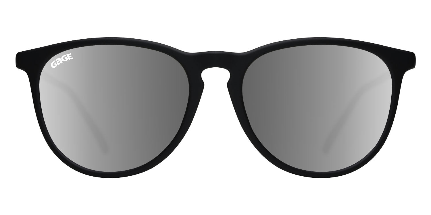 Black Round Eye Sunglasses With Silver Mirrored Lenses