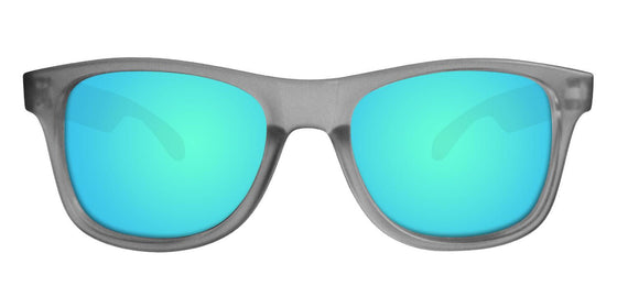 Grey Wayfarer Sunglasses With Light Blue Mirrored Lenses