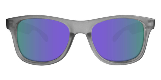 Grey Wayfarer Sunglasses With Purple Mirrored Lenses