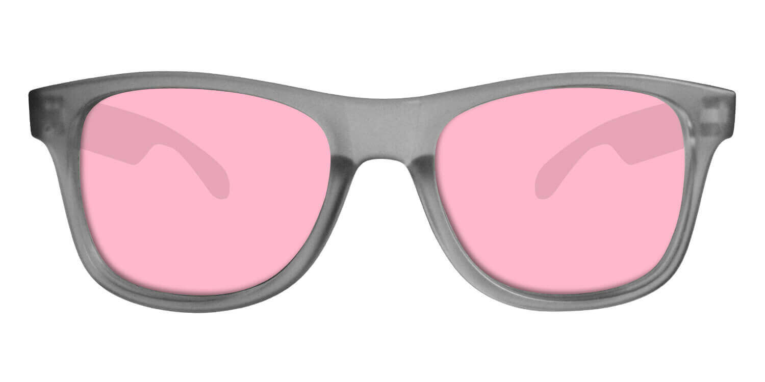Grey Sunglasses With Rose Pink Lenses