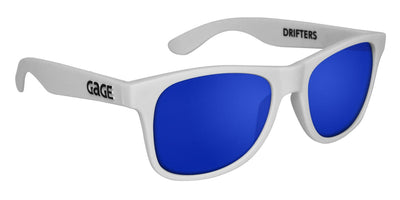 White Sunglasses With Blue Mirrored Lenses