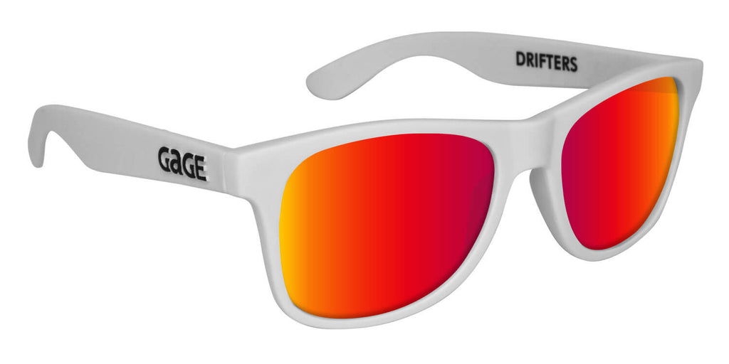 White Wayfarer Sunglasses With Punch Mirrored Lenses