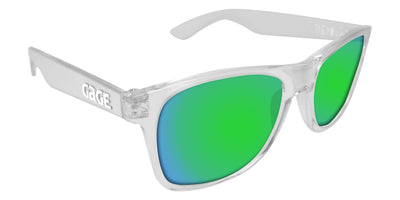 Clear Sunglasses With Green Mirrored Lenses