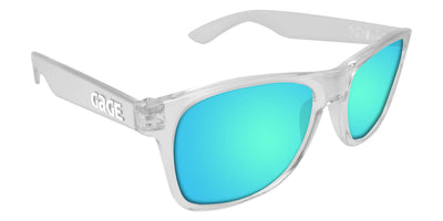 Clear Sunglasses With Light Blue Mirrored Lenses